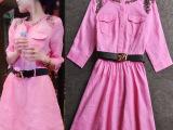 欧洲站代购2015秋季新款钉珠口袋修身大摆七分袖亚麻连衣裙中长裙