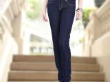 秋季高腰女牛仔裤 新款大码显瘦修身小直筒裤长裤 女装小脚牛仔裤