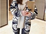 2015春季新款 韩版女装菱形条纹宽松针织开衫 针织衫外套毛衣