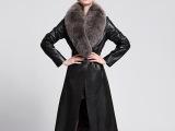 新款皮衣女式真皮皮衣 加长款修身可拆卸超大狐狸毛领羊皮外套女