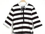 韩国秋冬新款经典黑白大条纹领系带纯棉卫衣上衣 现货