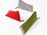 广告笔袋 新款简约 菱形精美学生用品文具袋 毛毡手提笔袋