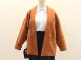 2014秋冬新款韩国复古学院风纯色小清新蚕型短款西装毛呢外套女