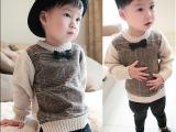 童装2015秋冬 男童毛线衣 儿童羊绒加绒针织衫外套 格子宝宝毛衣