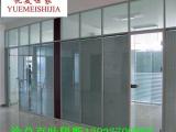 办公室玻璃隔断墙价格 铝合金双玻百叶隔断
