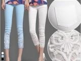 2014新款韩版大码蕾丝钩花镶钻薄夏款白色外穿打底小脚裤七分裤女