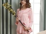 安得妮 夏季新款针织棉睡衣 女士休闲舒适长袖家居服套装96817