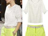 欧洲站精品女装 夏季新款欧美休闲棉麻短袖上衣+短裤裙休闲套装