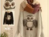 2013秋冬女装新款 森女系猫头鹰加厚蝙蝠衫毛衣针织衫