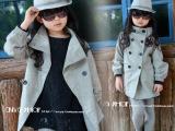 2013韩版童装女童装批发灰色双排扣蕾丝立领后蝴蝶结簿呢大衣外套