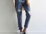 韩国代购新款女 时尚嘻哈 做旧 破洞口袋 宽松九分牛仔裤