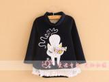 外贸童装2013秋新款女童小猫布贴蕾丝花边高领珊瑚绒儿童卫衣上衣