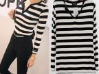 厂家直销 2014韩版新款条纹V领条纹T 莫代尔打底衫 长袖女士T恤