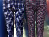 2014冬季不倒绒格子裤保暖裤批发 加绒加厚大码中老年打底裤