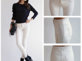 佐姿 2015春款韩版女式修身弹力铅笔裤 高腰黑白色牛仔小脚裤9