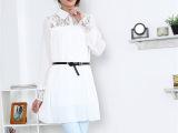 包邮春装蕾丝拼接翻领长款小清新雪纺宽松大码女式衬衫