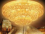 聚宝盆客厅灯水晶吸顶灯具LED传统金色黄水晶灯卧室餐厅灯饰
