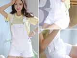 韩版女装大码显瘦糖果色水洗白可拆卸时尚牛仔背带卷边短裤6359