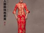 中式改良复古嫁衣龙凤褂裙手工刺绣金银线红色新娘敬酒服来样订制