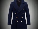 2014秋冬新款欧美商务保暖男士羽绒内胆呢大衣双排扣男装呢外套潮