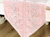 【美丝纺】韩式高档粉色丝绒蕾丝布艺桌旗 样板房精品桌布批发