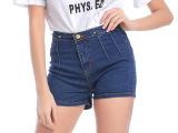 学生新款女式欧洲站 棉弹牛仔短裤 夏季女士牛仔中腰修身牛仔短裤