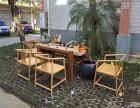 禅意茶桌新中式创意循环水茶艺桌实木茶几 流水茶台香樟木老石板