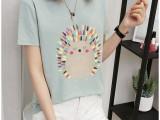 6.3夏装新款韩版女装棉短袖半时尚字母印花百搭打底上衣