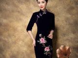 西格丽 2015新款女装婚礼宴会妈妈装中袖绣花韩国绒短旗袍