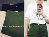 基本款 韩国ulzzang中高腰显瘦纯色卷边短裤 /3色