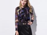 2015春季新款衬衫女式欧美风真丝衬衫欧洲站真丝印花衬衫批发代理