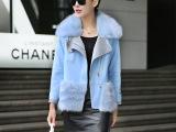 2015冬装新款韩版显瘦短款毛呢外套加厚皮草 女