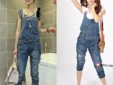 新款牛仔背带裤女式韩版吊带裤潮流破洞牛仔裤宽松可爱休闲