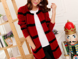 日本外贸原单 秋季日式女式毛衣时尚秋冬毛衣开衫条纹外套毛衣