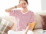 2018夏季新款女装条纹t恤 圆领短袖条纹t恤韩版套头衫3元