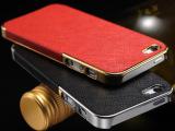 苹果4S手机保护壳 贴皮外壳 苹果5G十字纹电镀贴皮套 土豪金