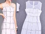 2014欧洲站高贵名媛款方形水晶钻拼接网纱无袖连衣裙J970