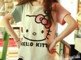 2013夏季新款女装 hello kitty猫咪图案不对称袖子纯