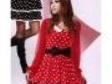 四季风 甜美时尚潮女式娃娃领花纹百褶波点裙摆可爱短款连衣裙