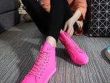 韩国七彩糖果色帆布鞋系带平底高帮运动休闲款舒适弹力布真皮女鞋