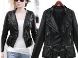 实拍现货2014秋装新款女装pu皮衣女短款修身夹克翻领小外套
