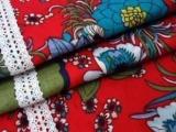 中国风花朵民族复古服装面料棉麻印花布料