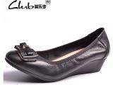 2015欧洲站春季新款真皮单鞋 韩版女士坡跟休闲女鞋 外贸品牌鞋