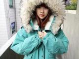 韩国ulzzang代购 学院风 真毛羊羔绒毛领带帽加厚棉衣 棉服