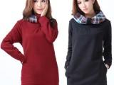 2013秋冬新款 韩版宽松大码加绒加厚套头卫衣女中长款卫衣外套