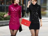 2014秋季新款韩版女装中长款套头针织衫高领亮片打底衫厚 毛衣