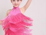 儿童拉丁舞服装 女童 新款少儿流苏拉丁舞裙女演出服表演服