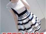 韩国代购夏装新款雪纺欧根纱拼接时尚条纹连衣裙 打底裙女
