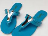 【高品质】秋季真皮人字凉拖女鞋 金属装饰平底凉鞋 欧美平跟单鞋