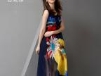 恩妮雅2015夏季新款波西米亚连衣裙 圆领无袖拼接撞色沙滩长裙